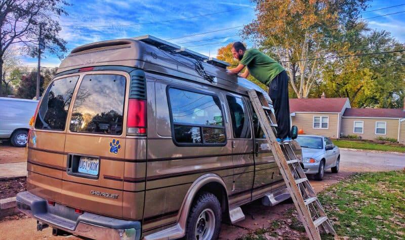 How We Mounted Solar Panels on a Fiberglass Van Roof