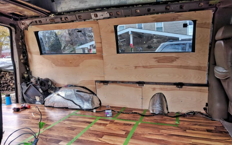 Diy Van Conversion Installing Plywood Walls In Our Van