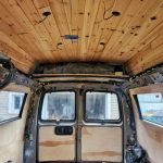 DIY Van Conversion:  Awesome Cedar Plank Ceiling Installation