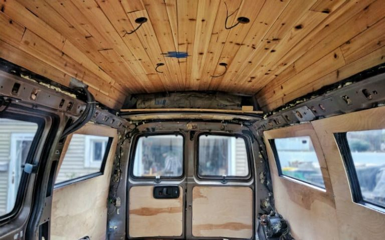 DIY Van Conversion:  Awesome Cedar Plank Ceiling Installation