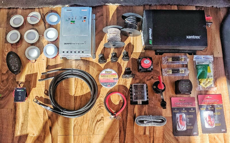 all the electrical components for our van build