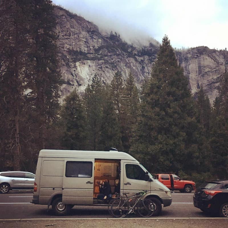 van by mountains