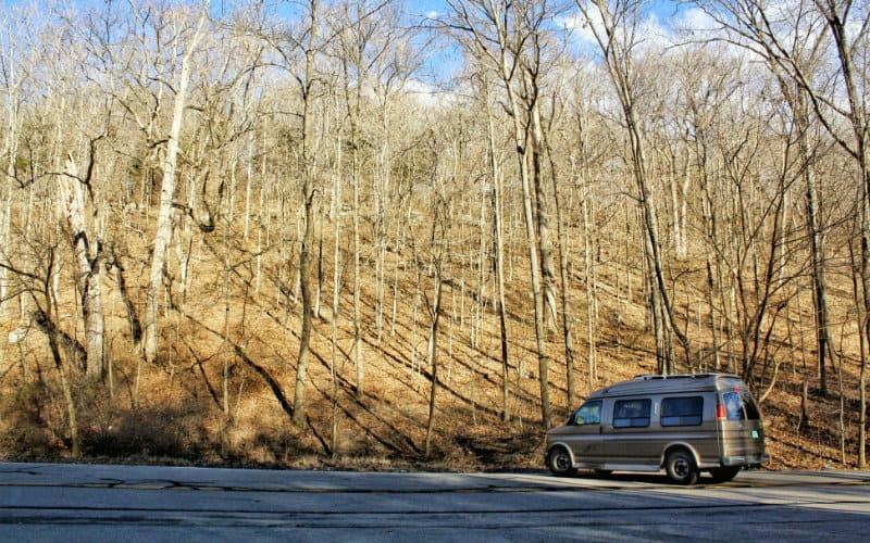 van waiting in the parking lot