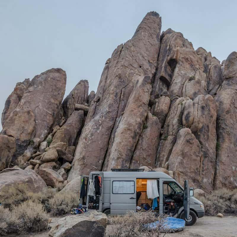 van with desert rocks