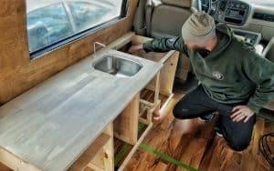 Custom Van Build Kitchen Cabinets
