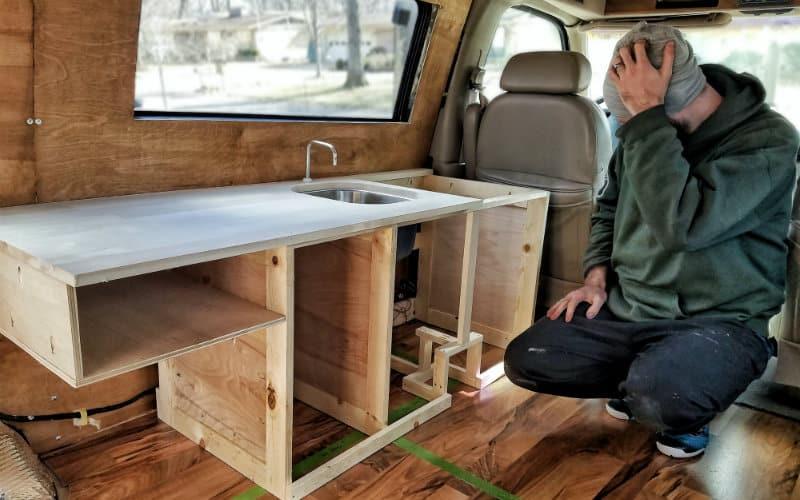 test-fitting kitchen cabinet