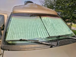 Eclipse Sunshade covering van windshield
