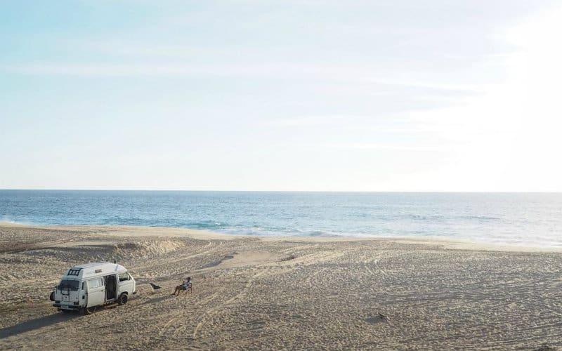 drone view van on beach
