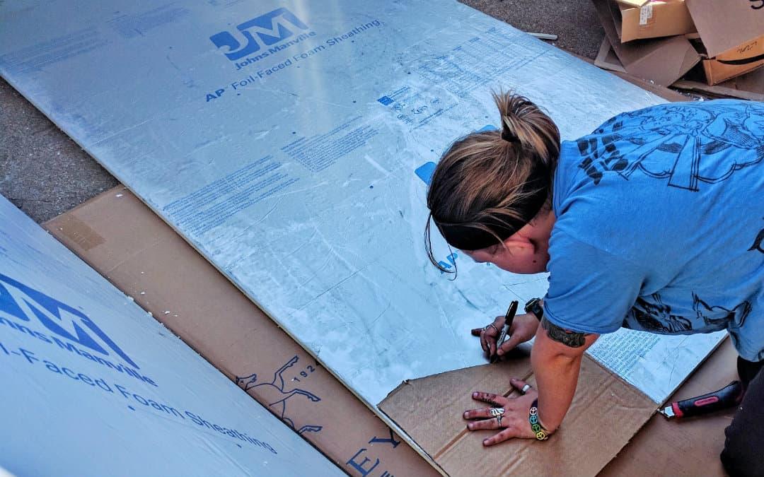 van insulation cardboard template