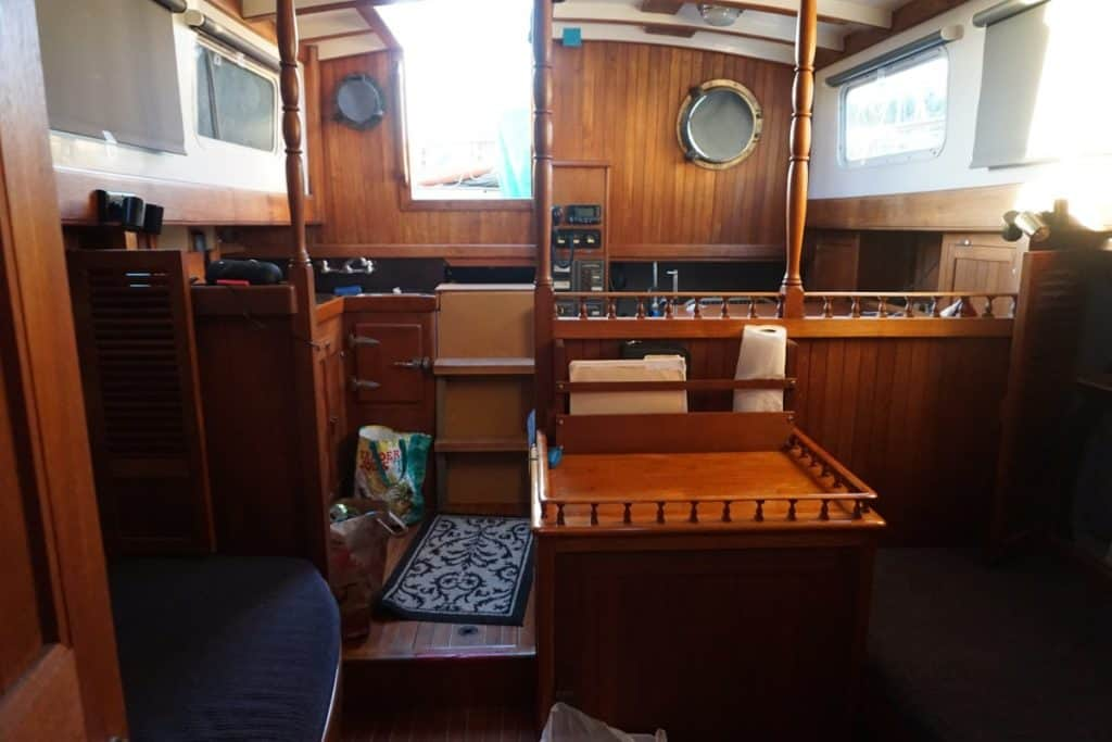 An interior shot of the sailboat.