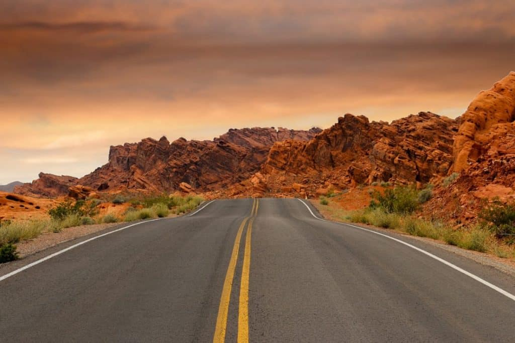 A road through red rock formations in Nevada