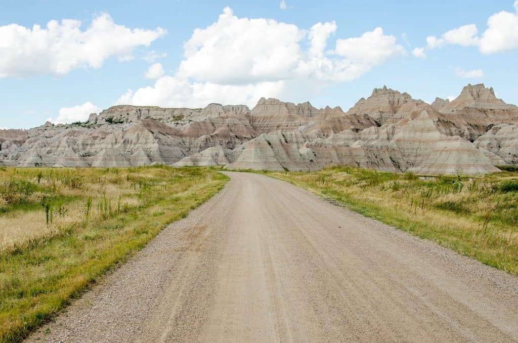 The road leading to South Dakot's Badlands Rock Formations