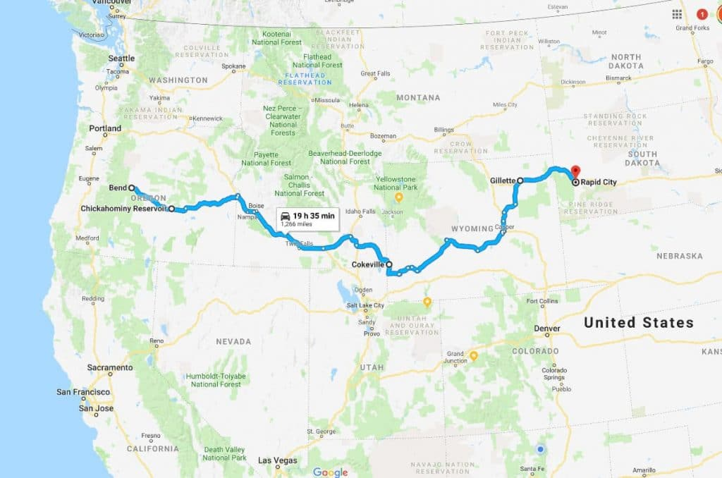 Map view of a driving route from Bend, OR to Rapid City, SD