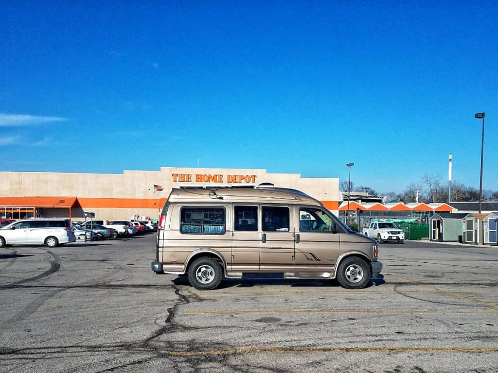 van parked outside of home depot