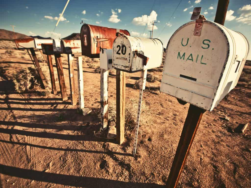mailboxes along a dirt road