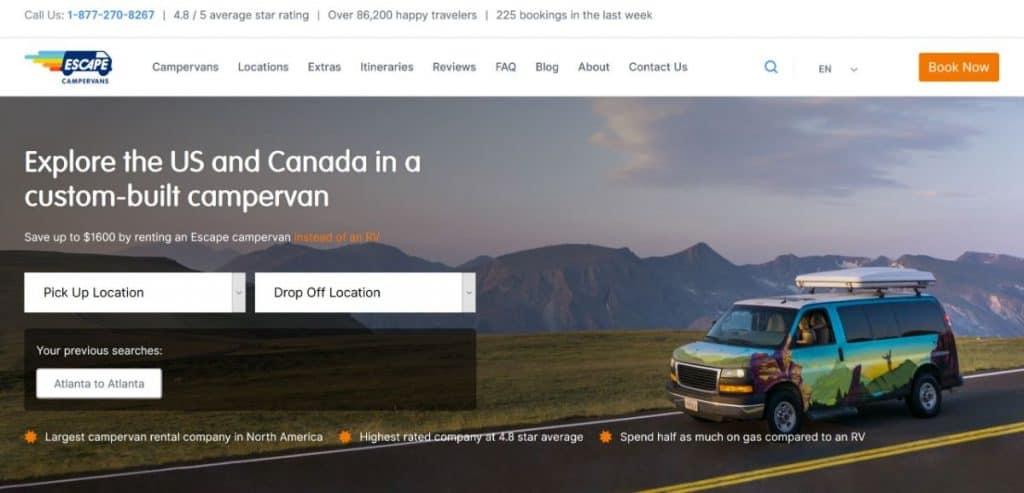 Screen capture of Escape Campervans website