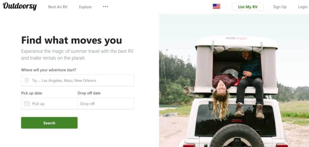 Screen capture of Outdoorsy website