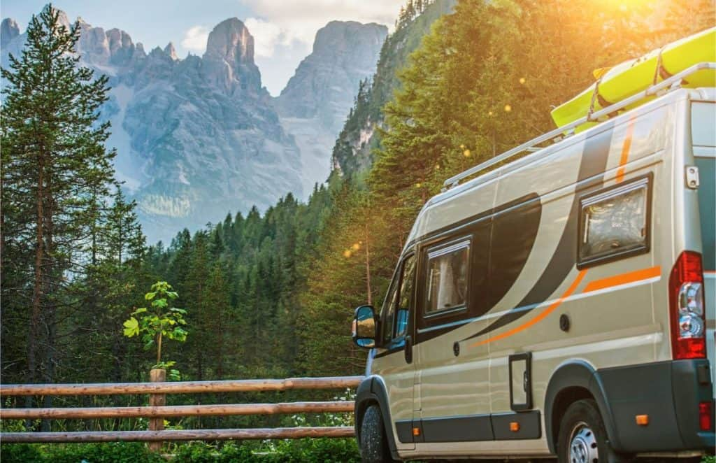 Dodge promaster class b rv parked in the mountains