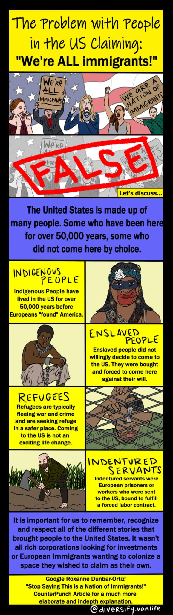 Comic strip depicting the various origins of people in this country. We aren't all immigrants