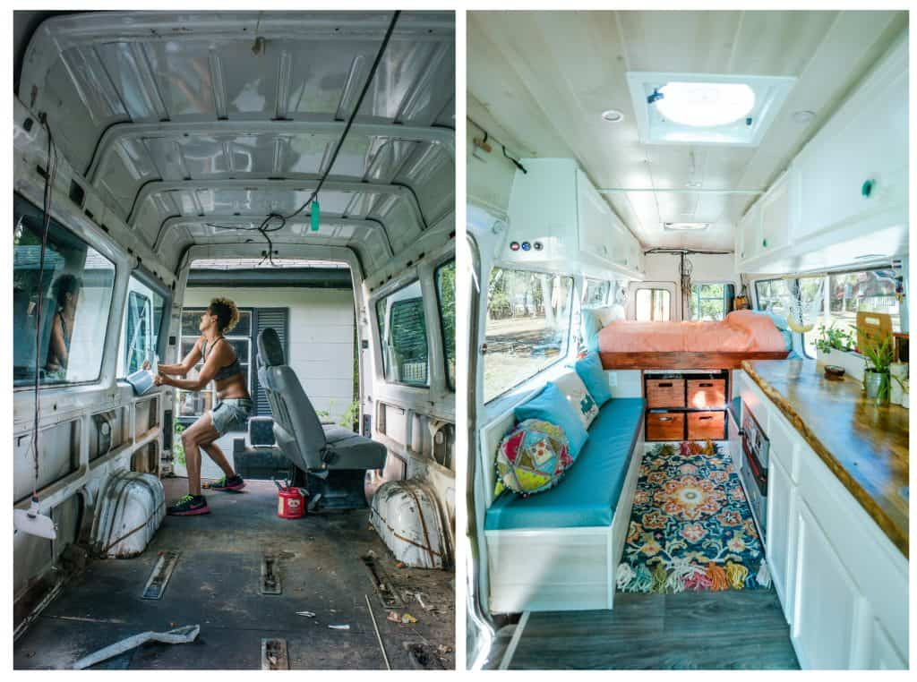 A before and after shot of the van being gutted and then a photo of the van complete.