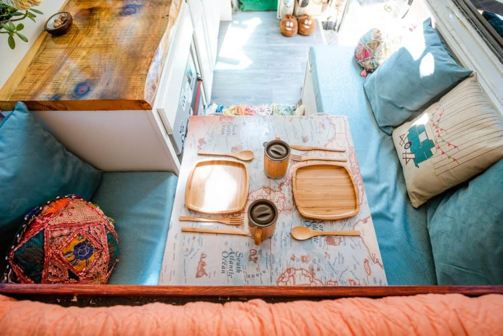 An aerial shot of where they eat in their van.