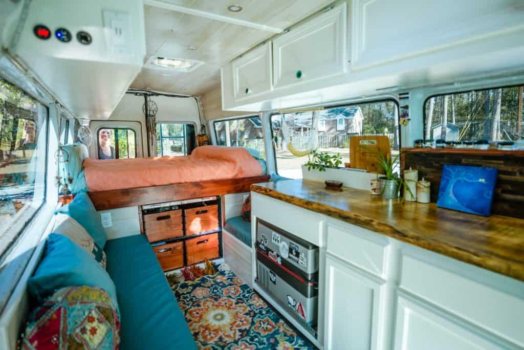 An interior shot of the van through the side door.