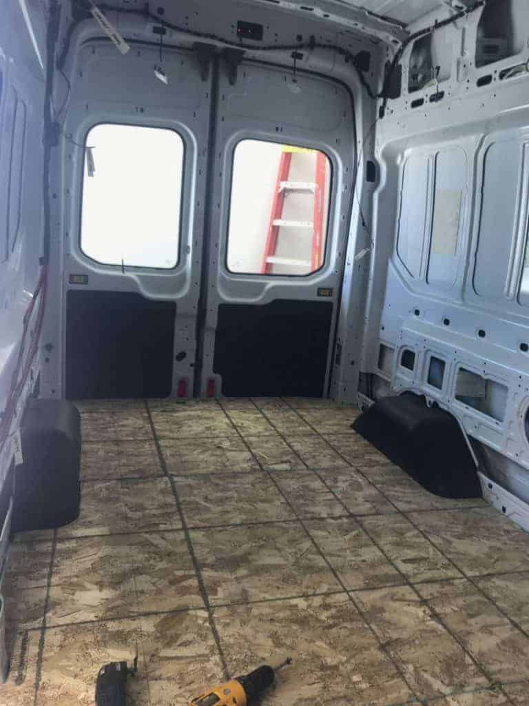 Interior shot of the inside of the van empty and not built out yet.