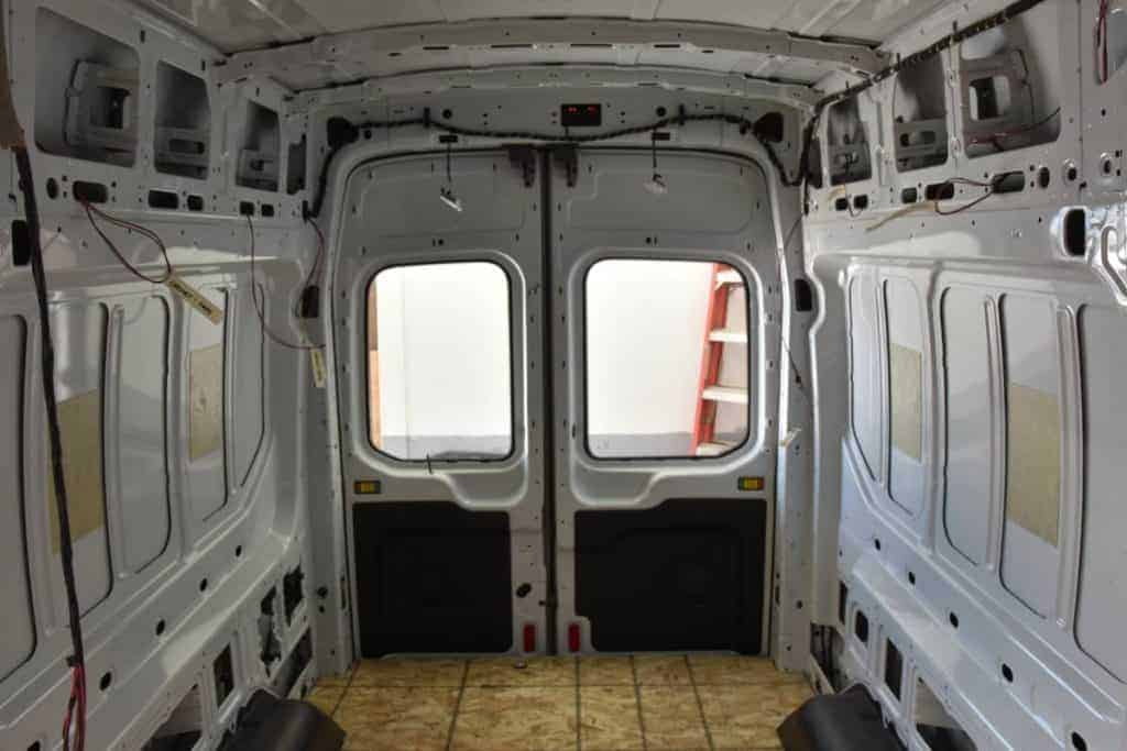 An interior shot of the rig totally empty with nothing on the walls, the doors, etc.