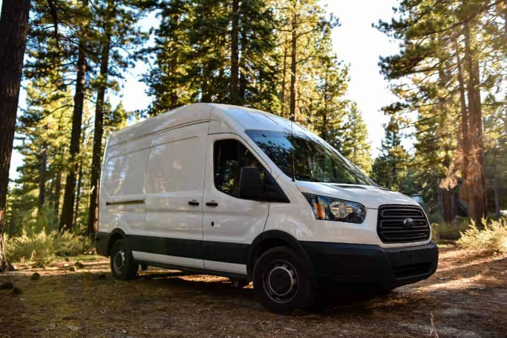 Exterior shot of the Ford Transit in the forest.