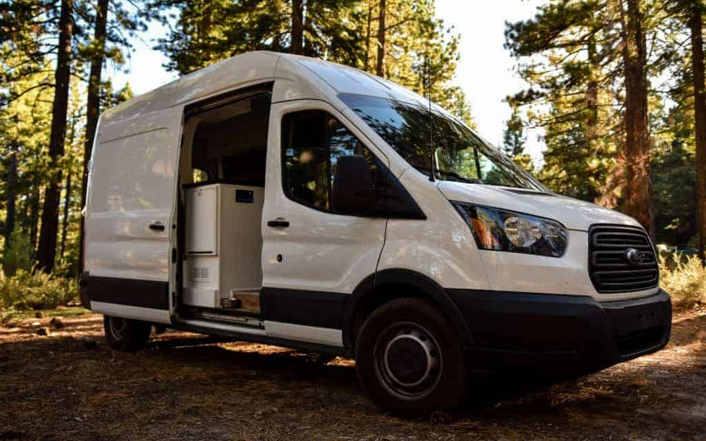 Side shot of the Ford Transit with the side door open.