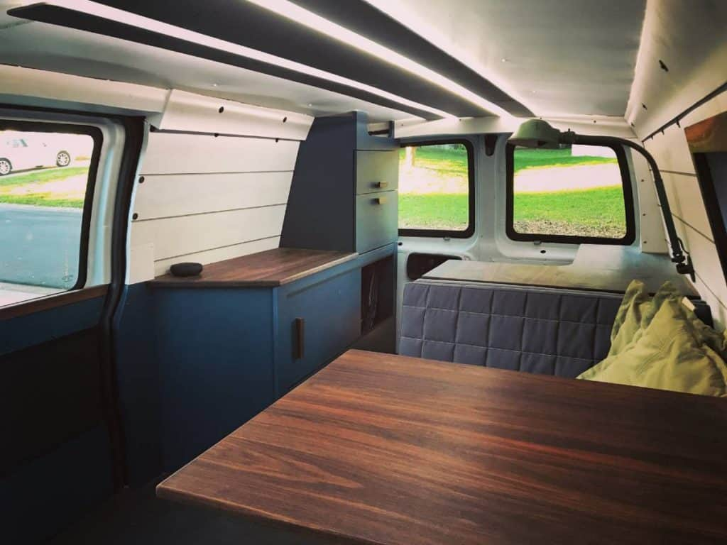 An interior shot of the van after it's been built out