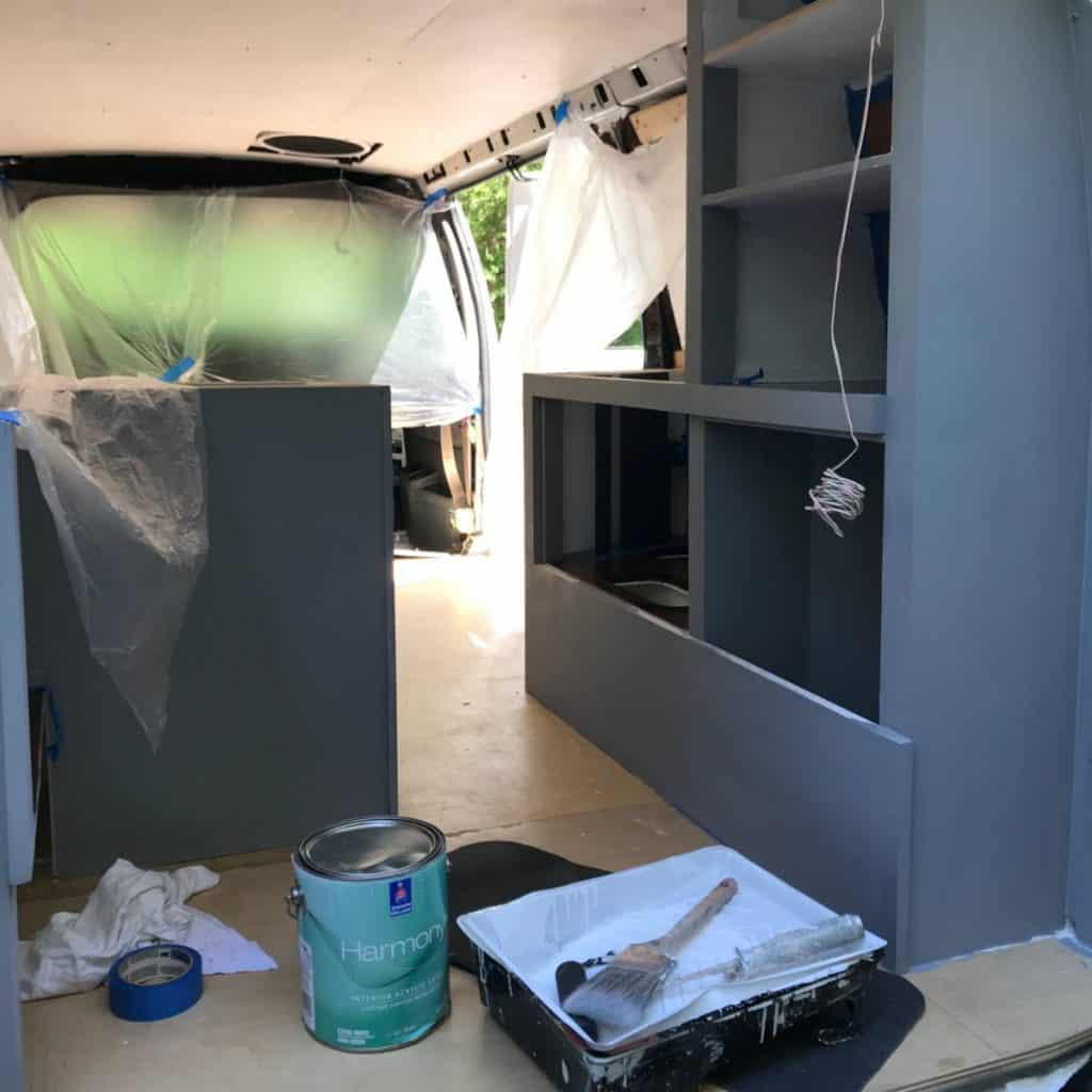 Building out the interior of the van.