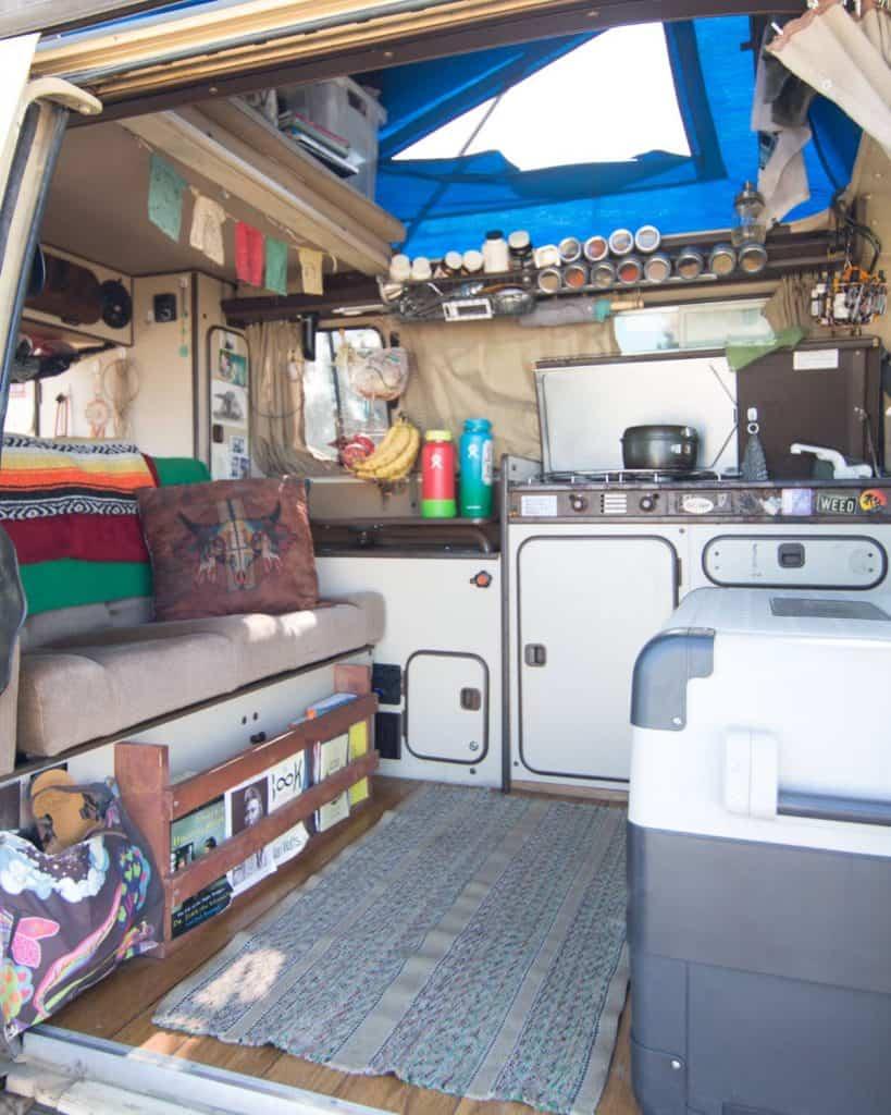 An interior shot of the van from the side door.