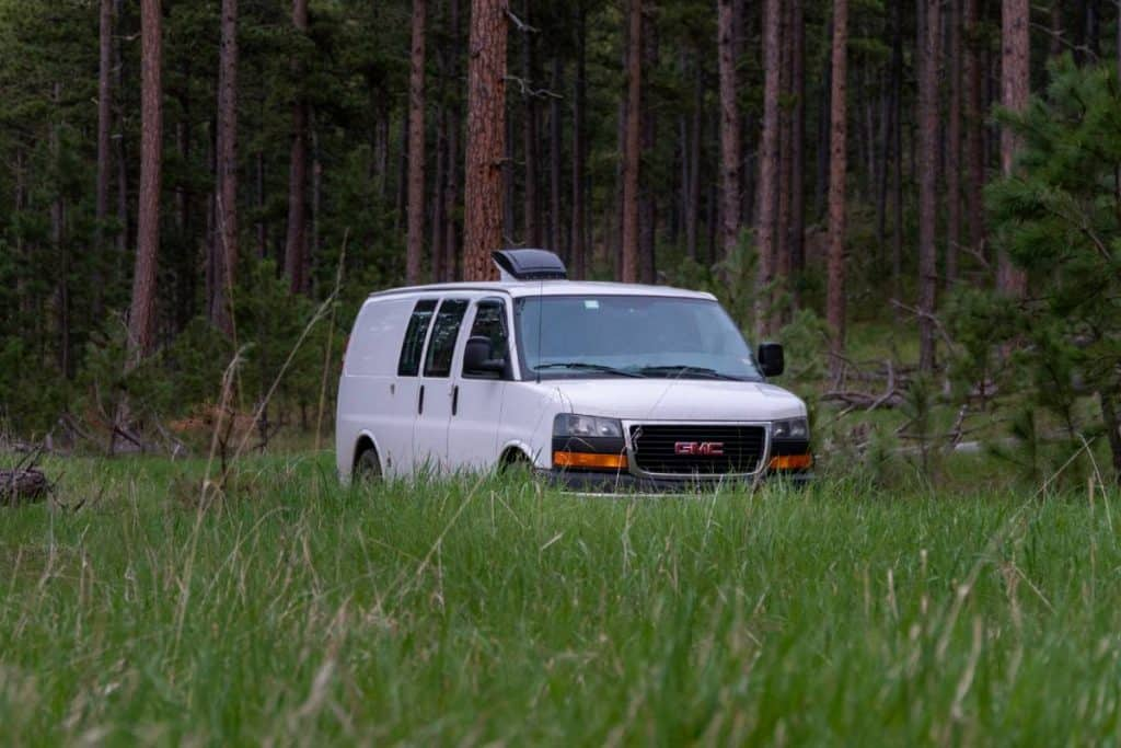 The van is parked among tall grasses and tall trees.