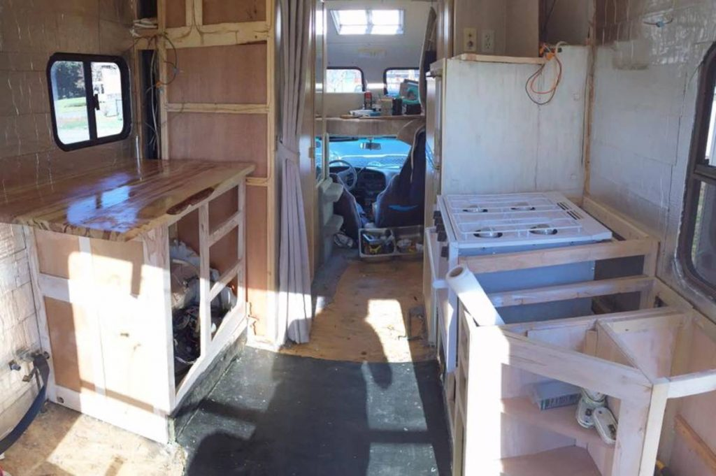 Interior of Toyota RV during gutting process