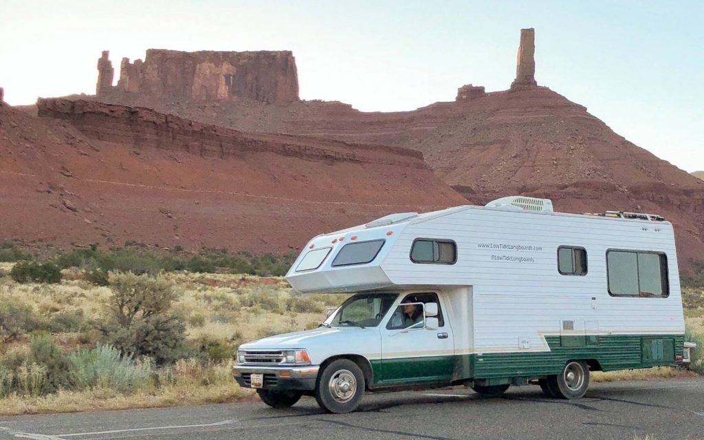 Toyota motorhome parked in the desert