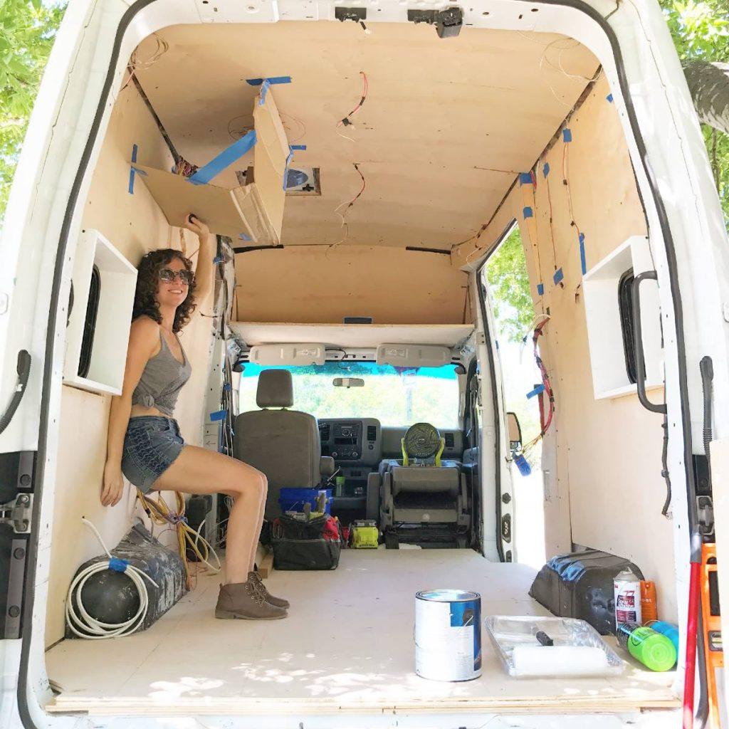 Lisa Jacobs van build interior with walls up