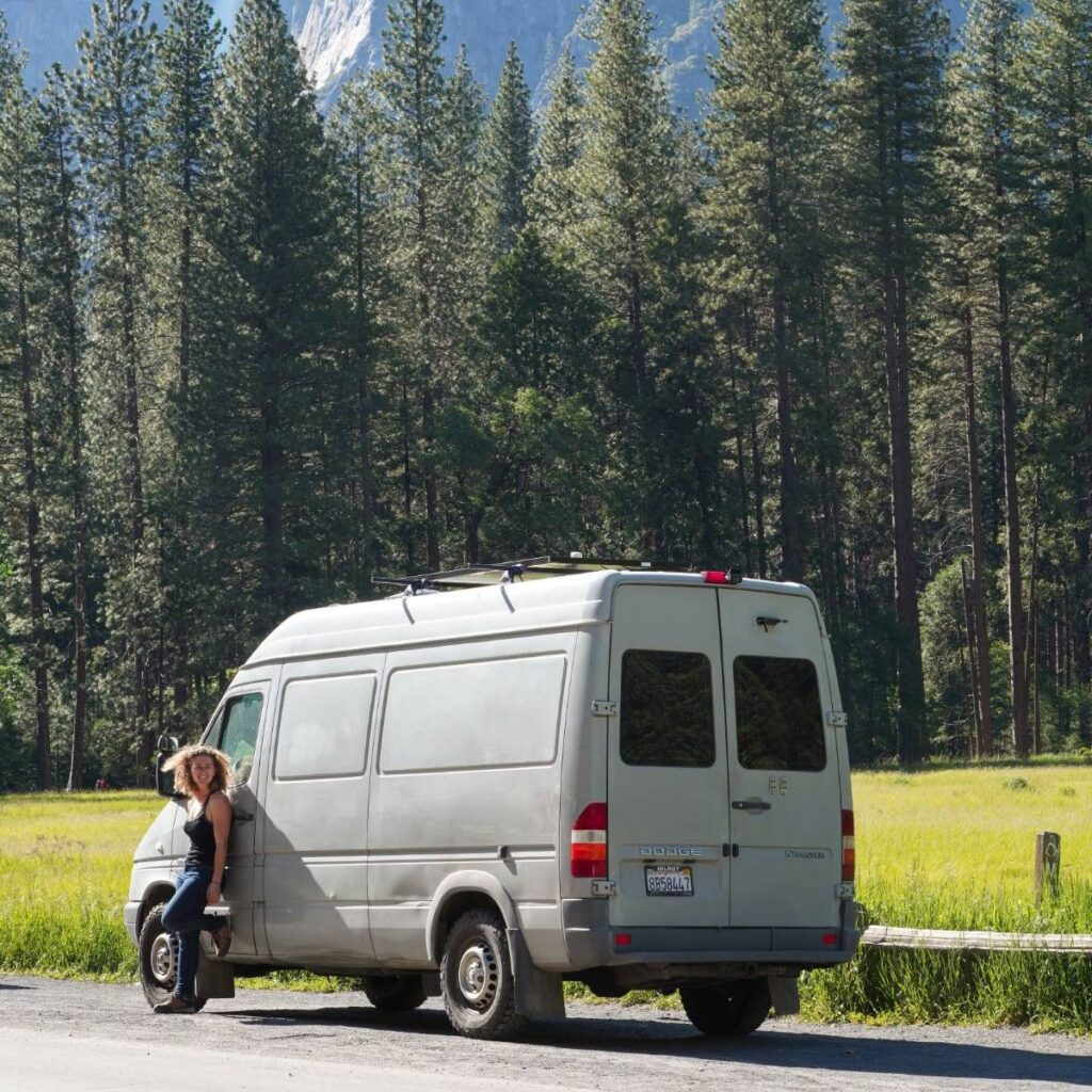Sprinter van parked among big trees