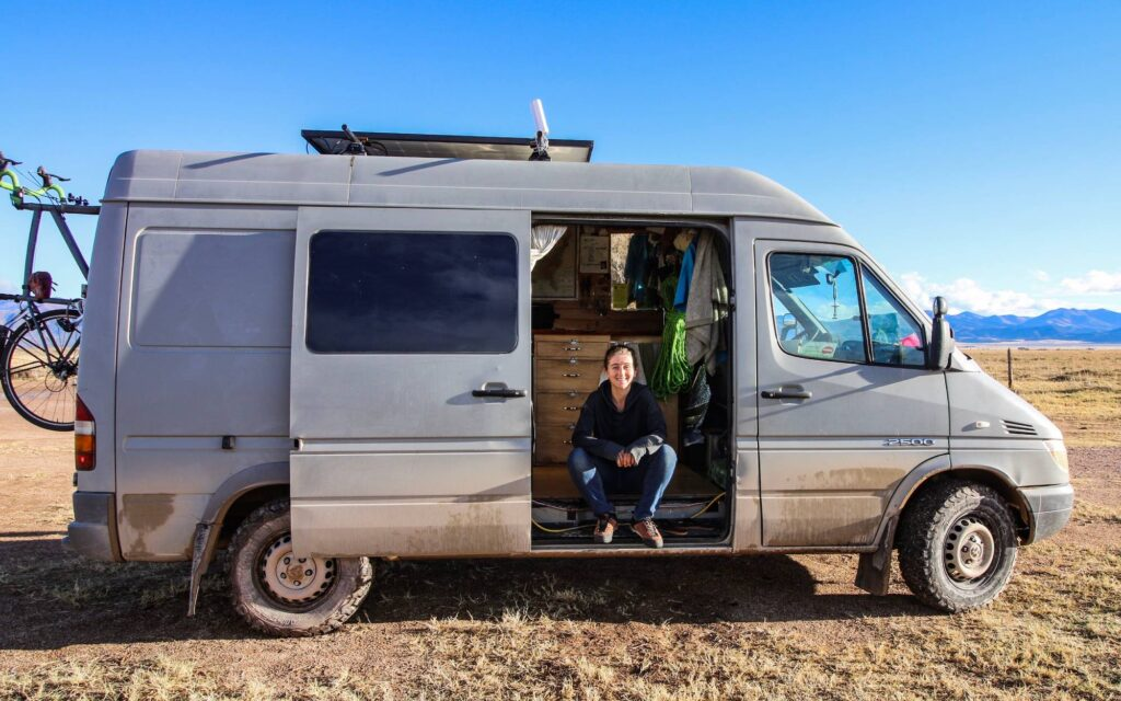 sprinter van parked in the desert