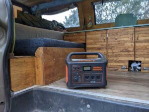 Jackery 1000 inside Gnomad Home van