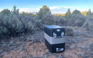 BougeRV fridge sitting in the desert