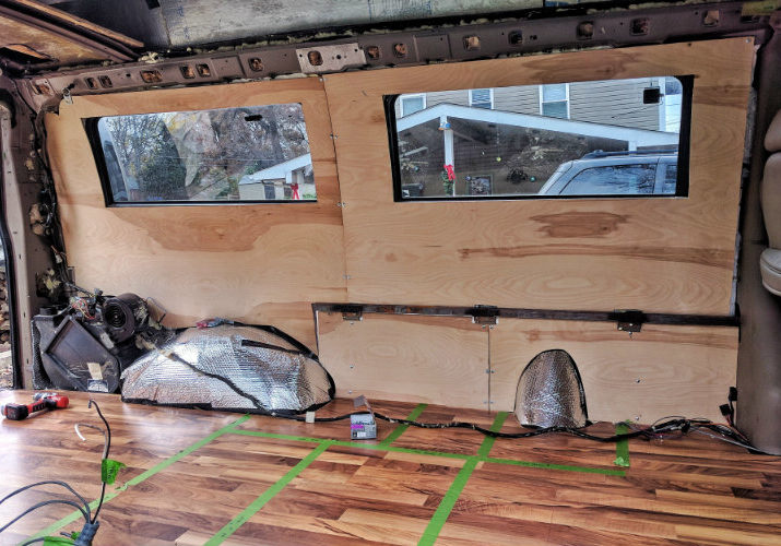 DIY Van Conversion Installing Plywood van walls
