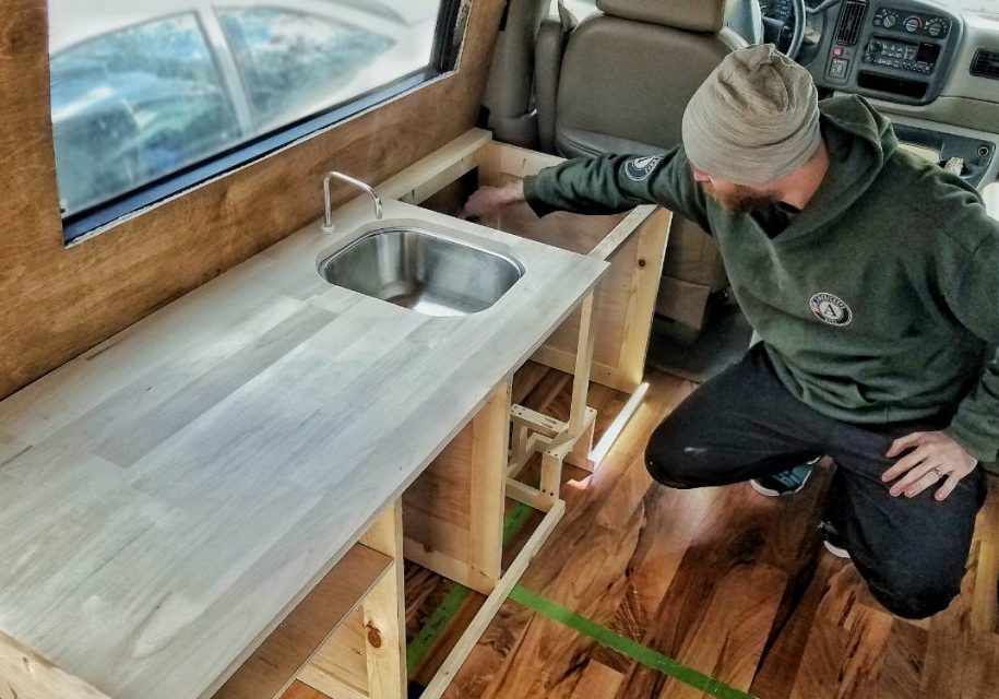 Custom Van Build Kitchen Cabinets